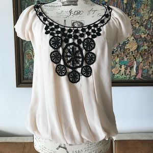 MAX STUDIO cream blouse with black embroidery S